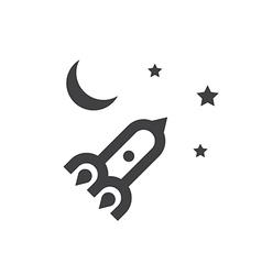 rocket moon sky vector image vector image