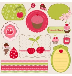 cherry design elements vector image vector image