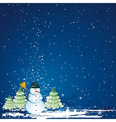 christmas card with forest of pinesnowman vector image vector image