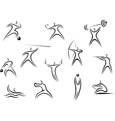 Different sportsman sketches vector image