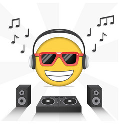 Emoji poster design with music icons vector