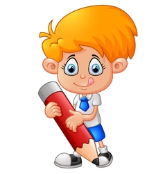 Little boy with pencil vector image vector image