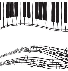 Piano keys and music notes vector image vector image
