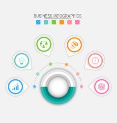 six options infographic around big circle vector image