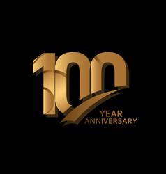 100 years gold elegant anniversary celebration vector