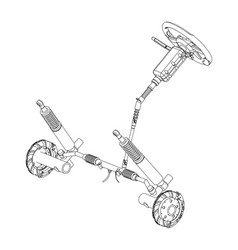 3d model of steering column vector image