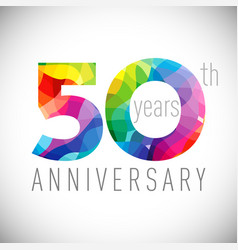 50 th anniversary facet years multicolored vector