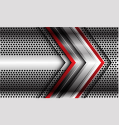 abstract red silver arrow direction on circle mesh vector image
