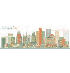 Abstract salt lake city skyline with color vector