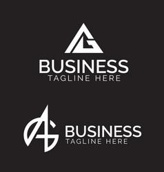 Ag monogram logo set vector