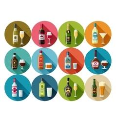 Alcohol drinks icon set Bottles glasses for vector image
