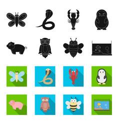 an unrealistic blackflet animal icons in set vector image