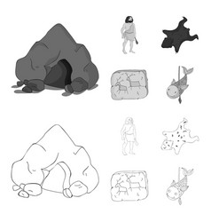 Ancient world stone age stone age set vector