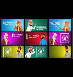 Arab man woman banner set young saudi vector