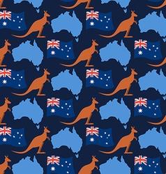 Australia day seamless ornament Kangaroos and flag vector image