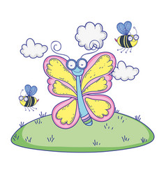 beautiful butterfly flying in landscape vector image