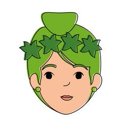 beautiful fairy head character vector image