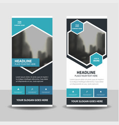 Blue black business roll up banner flat design vector