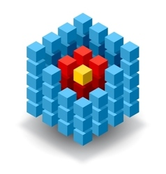Blue cube logo with red segments vector image