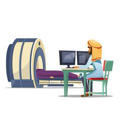 Cartoon arab ct mri tomography screening vector