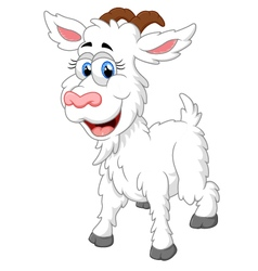 Cartoon happy animal goat vector image
