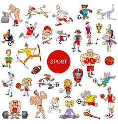 Cartoon people and sports large set vector