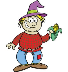 Cartoon scarecrow holding an ear of corn vector