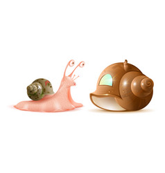 Cartoon snail looks at new shell of house buying vector
