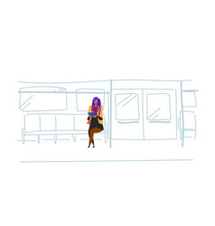Casual woman subway passenger sitting metro train vector