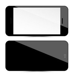 cellphone front and back black mobile phones set vector image