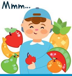 Child with fruits vector