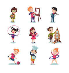 children hobbies set vector image