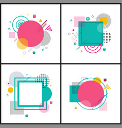 collection geometric frames vector image