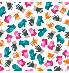 colorful winter mittens seamless pattern vector image