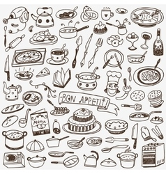 Cookery food doodles vector
