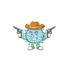 cool cowboy coronavirus illness holding guns vector image