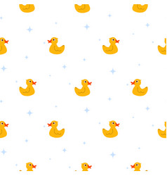 Cute ducks float on pond white seamless vector