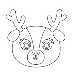 deer muzzle icon in outline style isolated on vector image