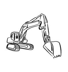 Doodle outline front hoe loader excavator vector