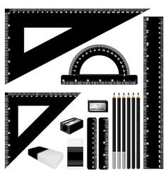 Drawing black color set Black ruler and pencil vector image