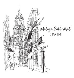 drawing sketch malaga cathedral vector image