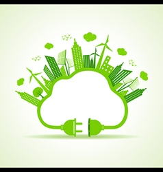Eco city concept with cloud of plug and holder sto vector