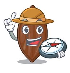 Explorer pecan nuts pile on plate cartoon vector