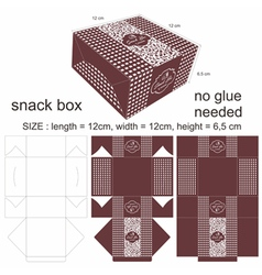 Floral brown and square snack box vector
