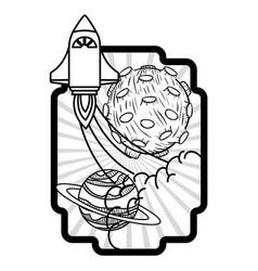 Frame with rocket taking off and planets vector