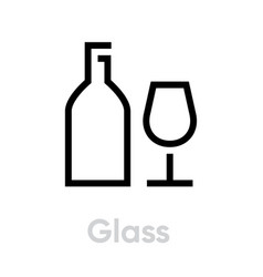 Glass recycling icon editable line vector