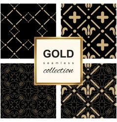 Golden pattern on dark damask background vector image