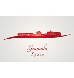 Granada skyline in red vector