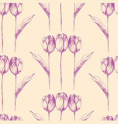 hand drawn tulip flowers seamless pattern vector image