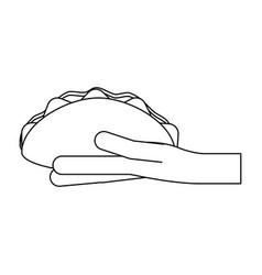 Hand holding burrito black and white vector